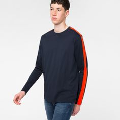 80ac055d Men's Navy Organic-Cotton Long-Sleeve T-Shirt With Red Side-Stripes. Paul  SmithPsOrganic ...