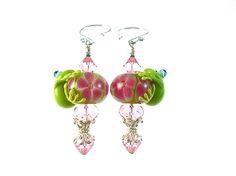 Pink Flower Frog Lampwork Glass Earrings