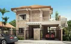 Home Design Drawing is a Two Story House Plan with 3 bedrooms, 2 baths and 1 garage. It is also a single attached house plan since the right side wall is fire-walled to maximize lot usage. The minimum lot . Two Story House Design, 2 Storey House Design, Two Story House Plans, Two Storey House, House Front Design, Small House Design, Modern House Design, Dream House Plans, Roof Design