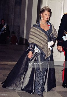 Queen Sonja wearing what probably was Queen Victorias diamond earrings with Queen Josephine's diamond tiara, april 2000.