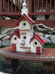 Birdhouse Handmade Large Bird House Post Mount Condo - Home  Living - Garden Decorative Functional Birdhouses - Custom Built Fine Birdhouse