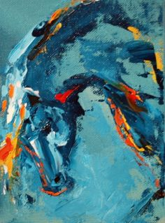 'Bow to the Night' Abstract Equine Art Horse Painting by Texas Artist Laurie Justus Pace, painting by artist Laurie Justus Pace