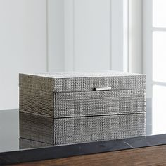 Sale ends soon. With the texture of burlap this handsome iron jewelry box is given a silver finish, complemented by a grey velvet interior. Dividers for rings and open compartments provide for all kinds of jewelry storage.