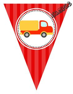 "DIY Truck Transportation Birthday Party Pendant Banner. Design Online Download & Print Immediately. Any Color Scheme. Pendant Banners each panel measures: 8.5"" x 11"" (19.75 CM x 25.85 CM)  Hot Glue or Tape Pendants to your string. Or punch holes and tie together with matching ribbon. Print at home or take to a place like Kinko's, Office Max, Copy Max, Staples or other stores that offer printing services."