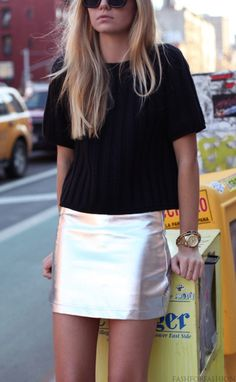 Love this look...maybe even more if the skirt was plain white leather, but the shine is fun too.