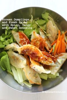Korean Dumplings and Fresh Salad mixed with Spicy, Tangy and Sweet Dressing