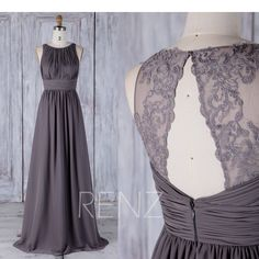 Bridesmaid Dress Dark Gray Chiffon Wedding Dress,Back Lace Long Prom Dress,Ruched Bodice Maxi Dress,A Line Evening Dress Full Length(H489) by RenzRags on Etsy https://www.etsy.com/listing/513783744/bridesmaid-dress-dark-gray-chiffon