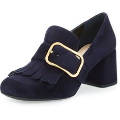 Prada Suede Buckle Kiltie Loafer (51.725 RUB) ❤ liked on Polyvore featuring shoes, loafers, bleu, fringe loafers, slip-on shoes, blue loafers, suede loafers and prada shoes