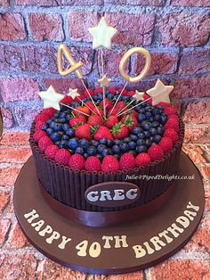 Chocolate Cigarello and Fruit 40th Birthday Cake with 40 Star Spray. Piped Delights by Julie Cakes Guildford Surrey Novelty Celebration