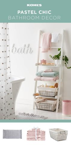 Hit refresh on your bathroom for spring. Whether you want to create a completely new look or just add a few key pieces, we've got just what you need. A ladder shelf is a stylish way to add storage and it looks great with rustic wire storage bins. Make your space look bigger and brighter with a palette of white and pastels. Try a pom pom shower curtain and fluffy towels in pink, white and blue from the LC Lauren Conrad collection. Don't forget a cozy, fringed bath mat and playful wall art.