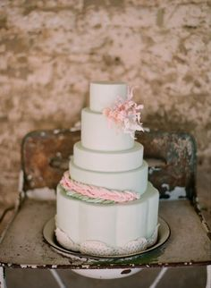GORG mint green colored cake