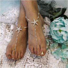 STARFISH barefoot sandals wedding - silver