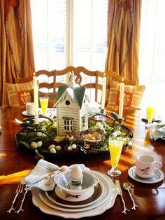 DIY creative Easter table centerpieces ideas small table decor candles wooden house