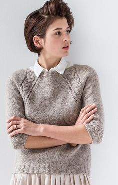 Love the chunky texture of this raglan sweater. I might be tempted to lengthen the sleeves though. from Brooklyn Tweed // Wool People 7 Sweater Knitting Patterns, Knit Patterns, Free Knitting, Brooklyn Tweed, How To Purl Knit, Mode Inspiration, Wool Sweaters, Knitwear, Handarbeit