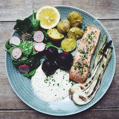 I hope you are having dinner tonight and I think you should have this: Smoked or grill salmon with the best sauce ever potatoes beets and salad. RECIPE ON MY BLOG LINK IN PROFILE. This meal is easy cheap and summer-ish. We had almost this yesterday but it was too dark so here is a lighter pic. Please try it. You Don't eat fish? Have it with a veggie steak or just add more vegetables. Puss #olivehummer #romsås #hej by olivehummer