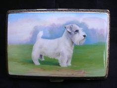 Vintage Gold Plated Enamel Cigarette Case Depicting Scottish Terrier Sealyham Terrier, Vintage Cigarette Case, Vintage Dog, Scottish Terrier, Terriers, Enamel, Antiques, Trays, Ash