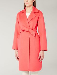 Wool, angora and cashgora coat, coral - Max Mara United Kingdom