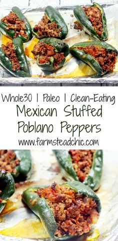 These Paleo and Whole30 Stuffed Poblano Peppers are completely freakin\' out of this world delicious, a no-brainer to make, and healthy to boot.