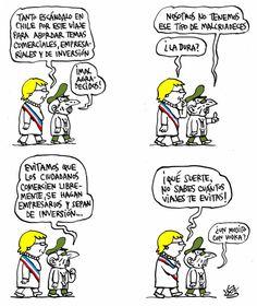 'Cubachelet', viñeta de Alen Lauzán en DIARIO DE #CUBA http://www.diariodecuba.com/cuba/1505562003_34015.html?utm_content=bufferc258c&utm_medium=social&utm_source=pinterest.com&utm_campaign=buffer #Humor #humorpolítico #Chile #MichelleBachelet #Política #AméricaLatina