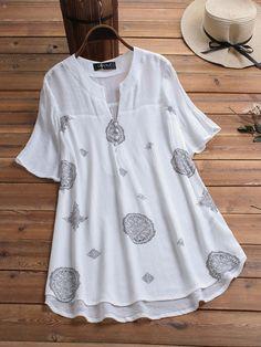 Gracila Bohemian Print Short Sleeve V Neck Button Blouse Cheap - NewChic Kurta Designs, Blouse Designs, Stylish Dresses For Girls, Casual Dresses, Fashion Dresses, Bluse Outfit, Bohemian Print, Short Sleeve Blouse, Long Blouse