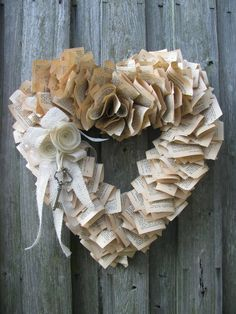 Key to my Heart Wreath... Using pages from an old favorite book!