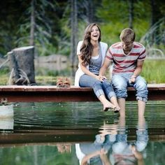 Adorable and fun Engagement Pic; Casual on a dock