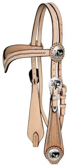 Light Showman ® double stitched leather silver beaded v brow headstall