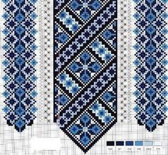 Blue & black border cross stitch pattern
