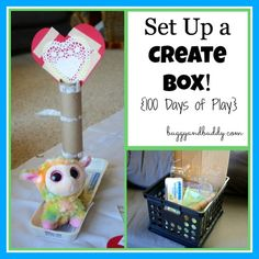 Set up a Create Box!  Create and play with items in your recylcling.  A great Earth Day play activity, and a great thing to keep available for the kids to use when the want to get crafty!  Shared at Buggy & Buddy
