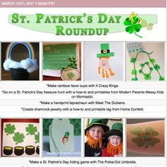 Kid's craft tutorials and printables for St. Patrick's Day!