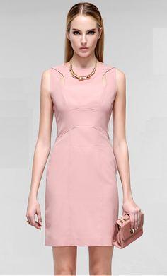 40b1cec7632f Morpheus Boutique - Pink Designer Hollow Out Sleeveless Pencil Dress