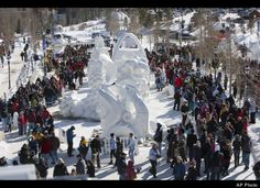 Breckenridge International Snow Sculpture Championships, on Saturday, Jan., 28, 2012 in Breckenridge Colo. The sculptures started with a 10 foot by 10 foot by 12 foot high solid block of snow and will have a total of 65 hours to finish their sculpture creation at the 22 annual competition. The sculptures will remain on display at the open air exhibit through Feb. 5, at the Riverwalk Center downtown Breckenridge.