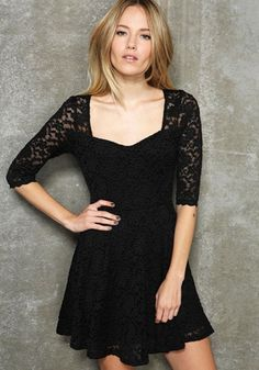 f0b32191c7 Black Hollow-out Long Sleeve Fitted Cotton Blend Dress Sheer Lace Dress