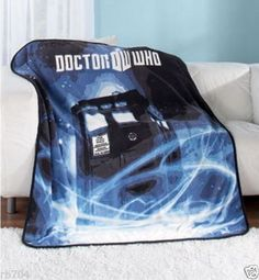 Dr-Who-Tardis-Throw-or-Blanket-50x60-Polyester-New-in-Package-Intl