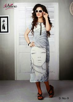 Beautifully Designed Digitally printed White Georgette Kurti. Modernized and trendy looking Party wear stuff.