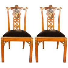 A pair of Chinese Chippendale Revival Chairs, attributed to Hille