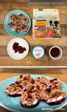 Shredded Chicken & Beet Bites — This Puppy Bowl recipe is a delicious and naturally sweet bite for your pup! #Freshpet #Barkpost #PuppyBowl #Dogs #PetRecipes