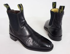 R.M. WILLIAMS Mens Turnout Boots Size UK 6 1/2 G USA 7.5 8 Black Leather Ankle  #RMWilliams #AnkleBoots