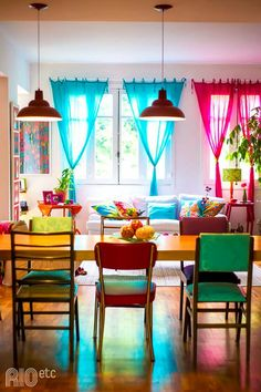 4 Simple and Modern Tricks Can Change Your Life: Vintage Home Decor Store Apartment Therapy vintage home decor shabby furniture.Classy Vintage Home Decor Guest Rooms vintage home decor store ideas.Vintage Home Decor Inspiration Lights. Style At Home, Deco Boheme, Indian Home Decor, Home And Deco, Colorful Decor, Colorful Curtains, Rainbow Curtains, Bright Curtains, Layered Curtains