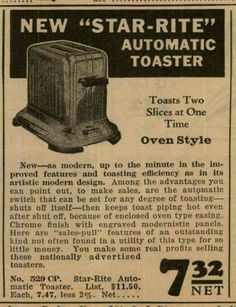 1933 Ad. Star-Rite toaster.