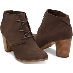 Chocolate Brown Suede Women's Lunata Lace-Up Booties (120 AUD) ❤ liked on Polyvore featuring shoes, boots, ankle booties, suede lace up boots, suede ankle boots, short suede boots, suede lace up bootie and suede lace up ankle booties