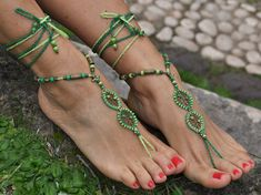 Forest Dream BAREFOOT SANDALS,Green,Foot jewelry, Hippie Beach Wedding sold by PanoParaTanto. Barefoot Wedding, Beach Wedding Sandals, Camel Sandals, Bare Foot Sandals, Crochet Barefoot Sandals, Afro Style, Evening Attire, Metal Beads, Glass Beads