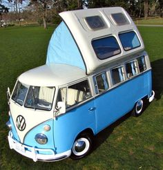 VW van camping conversion with seriously-pop-up roof