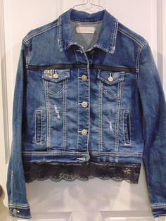 Refashioned Jean Jacket Size Medium with Black Lace and Trim by RefashionedApparel on Etsy