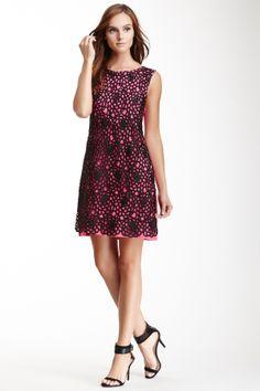Eyelet Overlay Linen Dress