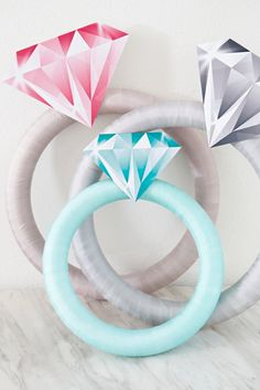 Giant Diamond Ring Is The Perfect DIY Bridal Shower Door Decor! These giant DIY diamond rings will make for the perfect bridal shower decor!These giant DIY diamond rings will make for the perfect bridal shower decor! Bridal Shower Gifts For Bride, Bride Shower, Bridal Shower Photos, Unique Bridal Shower, Bridal Shower Party, Bridal Shower Decorations, Diy Diamond Rings, Emerald Rings, Ruby Rings