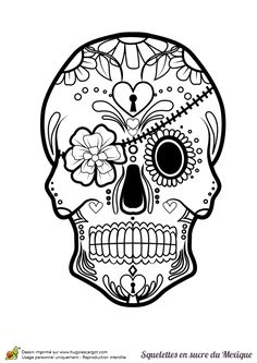 A Mexican sugar skull to be colored with its flower headband. Skull Coloring Pages, Colouring Pages, Coloring Books, Sugar Skull Tattoos, Sugar Skull Art, Sugar Skulls, Sugar Skull Stencil, Free Adult Coloring, Printable Adult Coloring Pages