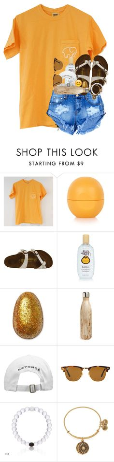 """Account refresh!"" by evedriggers ❤ liked on Polyvore featuring Topshop, Birkenstock, Sun Bum, S'well, Ray-Ban and Alex and Ani"
