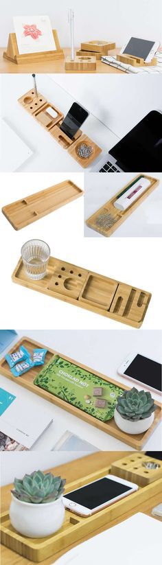 Bamboo Wooden Modular Pen Pencil Holder Multipurpose Desk Stationery Organizer Tray Smart Phone Dock Stand Holder Business Card Holder