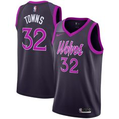 Men's Minnesota Timberwolves Karl-Anthony Towns Nike Purple City Edition Swingman Jersey is in stock now at NBA Store and Guaranteed Authentic. Wnba, Basketball Uniforms, Basketball Jersey, Sports Jerseys, Maillot Lakers, Purple City, Karl Anthony Towns, Naming Your Business, Nba Store